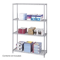 "Industrial Wire Shelving - Starter Unit - 48""W x 18""D x 72""H Industrial wire shelving; Industrial wire storage shelving; Industrial backroom shelving; Industrail back room shelving; Steel shelving; Storage shelving; Extra strength steel shelving; Garage storage; Backroom storage; Backroom shelving; Backroom organziation; Back room storage; Back room shelving; Back room organziation; Facility maintenance; Heavy duty steel shelving; Black steel shelving; Black storage shelving; Black extra strength steel shelving"