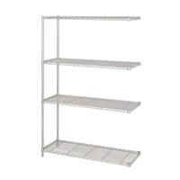 "Industrial Wire Shelving - Add-on Unit - 48""W x 18""D x 72""H Industrial wire shelving; Industrial wire storage shelving; Industrial backroom shelving; Industrail back room shelving; Steel shelving; Storage shelving; Extra strength steel shelving; Garage storage; Backroom storage; Backroom shelving; Backroom organziation; Back room storage; Back room shelving; Back room organziation; Facility maintenance; Heavy duty steel shelving; Black steel shelving; Black storage shelving; Black extra strength steel shelving"