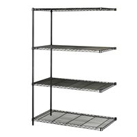 "Industrial Wire Shelving - Add-on Unit - 48""W x 24""D x 72""H Industrial wire shelving; Industrial wire storage shelving; Industrial backroom shelving; Industrail back room shelving; Steel shelving; Storage shelving; Extra strength steel shelving; Garage storage; Backroom storage; Backroom shelving; Backroom organziation; Back room storage; Back room shelving; Back room organziation; Facility maintenance; Heavy duty steel shelving; Black steel shelving; Black storage shelving; Black extra strength steel shelving"