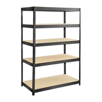 Boltless Steel and Particleboard Shelving 48x24 Particleboard shelving; Boltless shelving; Boltless steel shelving; Steel shelving; Storage shelving; Extra strength steel shelving; Garage storage; Backroom storage; Backroom shelving; Steel racking; Facility maintenance; Heavy duty steel shelving; Black steel shelving; Black storage shelving; Black extra strength steel shelving