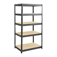 Boltless Steel and Particleboard Shelving 36x24 Particleboard shelving; Boltless shelving; Boltless steel shelving; Steel shelving; Storage shelving; Extra strength steel shelving; Garage storage; Backroom storage; Backroom shelving; Steel racking; Facility maintenance; Heavy duty steel shelving; Black steel shelving; Black storage shelving; Black extra strength steel shelving
