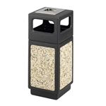 Canmeleon Receptacle Outdoor Series Aggregate Panel Side Opening with Urn Aggregate panel receptacle; Trash Can; Trash receptalce; Waste receptacle; Trash bin; Outdoor trash can; Outdoor waste receptacle; Outdoor receptacle; Plastic receptacle; Outdoor garbage can; Garbage can; Waste containers; Waste container