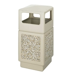 Canmeleon Outdoor Waste Receptacle Side Opening Color: Tan Aggregate panel receptacle; Trash Can; Trash receptalce; Waste receptacle; Trash bin; Outdoor trash can; Outdoor waste receptacle; Outdoor receptacle; Plastic receptacle; Outdoor garbage can; Garbage can; Waste containers; Waste container
