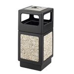 Canmeleon Receptacle Outdoor Series Aggregate Panel Side Opening with Urn Aggregate panel receptacle; Trash Can; Trash receptalce; Waste receptacle; Trash bin; Outdoor trash can; Outdoor waste receptacle; Outdoor receptacle; Plastic receptacle; Outdoor garbage can; Garbage can; Waste containers; Waste container; Ash urn; Cigarette disposal