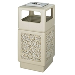 Canmeleon Outdoor Waste Receptacle Side Opening with Urn Color: Tan Aggregate panel receptacle; Trash Can; Trash receptalce; Waste receptacle; Trash bin; Outdoor trash can; Outdoor waste receptacle; Outdoor receptacle; Plastic receptacle; Outdoor garbage can; Garbage can; Waste containers; Waste container