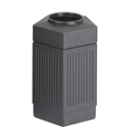 Canmeleon Pentagon Black Waste Receptacle, 30 Gallon Trash Can; Trash receptalce; Waste receptacle; Trash bin; Outdoor trash can; Outdoor waste receptacle; Outdoor receptacle; Plastic receptacle; Outdoor garbage can; Garbage can; Waste containers; Waste container