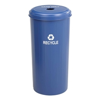 Tall Round Recycling Receptacle Can recycling; Aluminum recycling; Recycling receptacles; Recycling collection cans; Recycling bins;  Recycling center bins; Recyling center; Break room recycling; Breakroom recycling; Office recycling