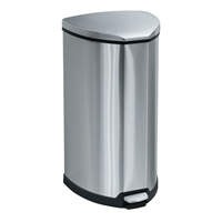 Stainless Step-On 10 Gallon Receptacle Trash can; Garbage can; Trash cans; Waste can; Waste basket; Wasbasket; Trash bins; Trash collection; Trash collection bins;  Steel trash can; Steel garbage can; Waste receptacle; Step on trash can; Step on garbage can; Step on waste receptacle