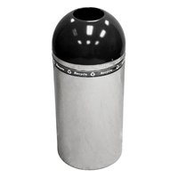 Open Top Black Dome Recycling Receptacle