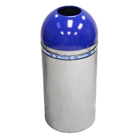 Open Top Blue Dome Recycling Receptacle