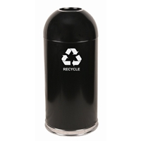 Dome Top Recycling Receptacle, Color: Black