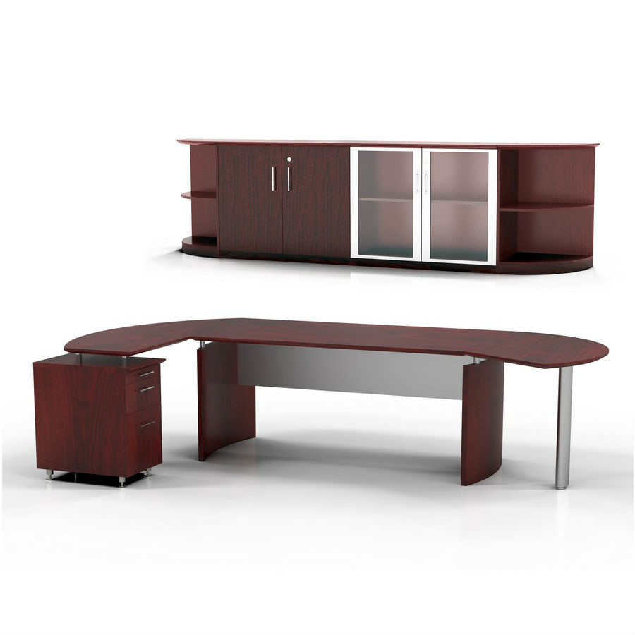 retail kitchen cabinets mayline medina desk and cabinet in mahogany laminate mnt9lmh 1924
